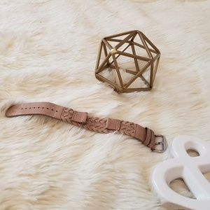 Fossil Blush Pink Braided Leather Watch Strap 18mm